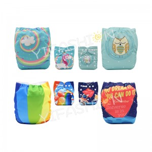 YIFASHIONBABY 4Packs Attractive Cartoon Girl Prints Diapers Cloth Breathable With Inserts DD-4Z05