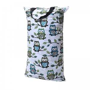 YIFASHIONBABY Double Zippered Reusable Pail Liner Hanging Wet Dry Cloth Diaper Bag Large Laundry Bag(Owl stand on tree) 16inch*26inch