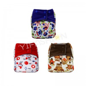 YIFASHIONBABY 3pcs/pack Boy Prints Pocket AIO Diapers Charcoal bamboo lining Sewn in Microfiber Inserts 6-35pounds YA-3Z02