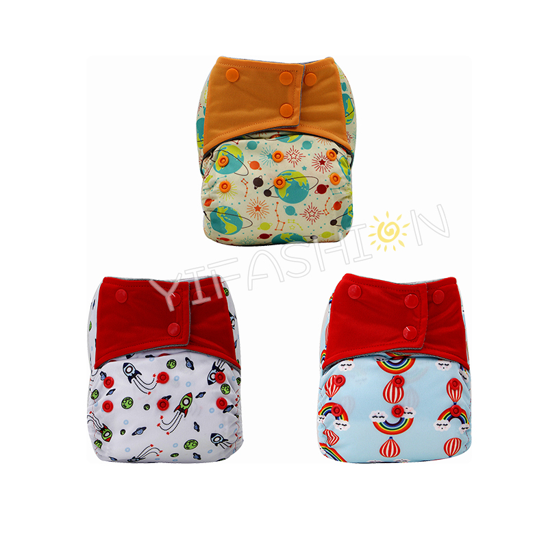 YIFASHIONBABY 3pcs/pack Sky Series Charcoal bamboo AIO Cloth Nappy with Pocket Sewn in Microfiber Inserts 6-35pounds YA-3Z03