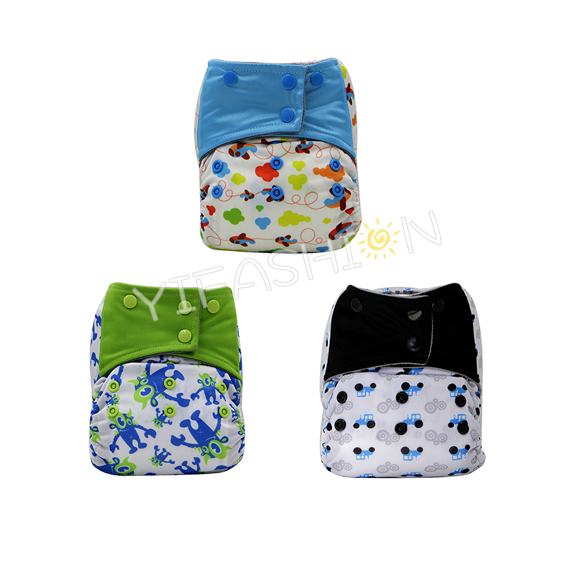 YIFASHIONBABY 3pcs/pack Airplane/ Monster Boy Cloth Nappies One Size AIO Charcoal Bamboo Diapers with Pocket Sewn in Microfiber Inserts 6-35pounds YA-3Z03