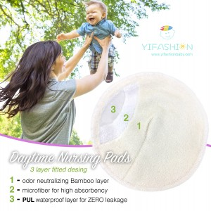 YIFASHIONBABY 20packs(100pairs) 3layers White Reusable and Natural Bamboo Nursing Pads Washable With Laundry Bag 200BW