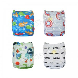 YIFASHIONBABY 4Pack(Boy print) Captain A/ Moustache Reusable Cloth Nappy With Insert 4ZP01