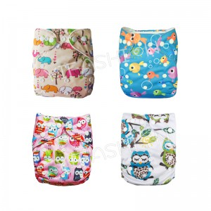YIFASHIONBABY 4Pack Cute Pink Elephant / Owl Girl Diapers for Baby Pocket Nappy  With Inserts 4ZP02