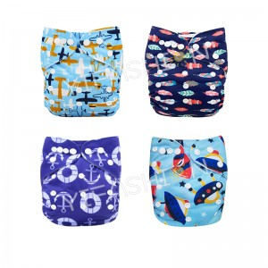 YIFASHIONBABY 4pcs Airship Printed Pocket Cloth Diapers for Boy 6-35pounds 4ZP27