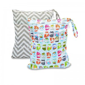 YIFASHIONBABY Customized  Wet and Dry Cloth Diapers Wet Bags Waterproof Reusable with Two Zippered Pocket 30cmx36cm