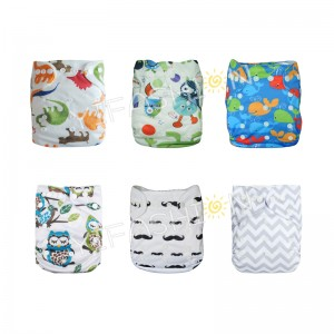 YIFASHIONBABY 6Pack Cute Prints Boy Nappies Cloth Diapers Pocket Washable Adjustable Reusable With Inserts 6ZP01