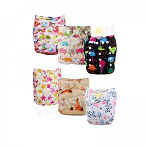 YIFASHIONBABY Baby Cloth Diapers Girl Prints, 6 All in One Size Diapers with Inserts, Absorbent and No Leaks 6ZP02