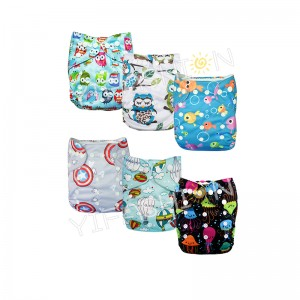 YIFASHIONBABY 6Pack Lovely One Size Boy Baby Cloth Pocket Diapers Reusable With Inserts 6ZP03