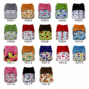 YIFASHIONBABY 10pcs/Pack Waterproof One Size Cloth Nappies Pocket AIO Charcoal Bamboo Lining Sewn in Microfiber Inserts 6-35pounds Wholesale YA-Z10