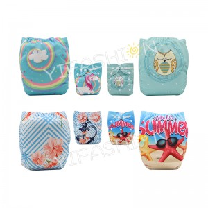 YIFASHIONBABY 4Pack (GIRL Prints) Digital Position Printing Cloth Diaper DD-4Z01