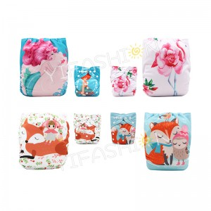 YIFASHIONBABY 4Pack Gorgeous Girls Position Printed Cloth Nappies for Baby With Inserts DD-4Z04