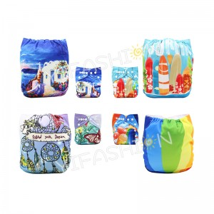 YIFASHIONBABY 4Pack Netural Position Printed Cloth Diapers Reusable for Baby 6-36pounds DD-4Z07