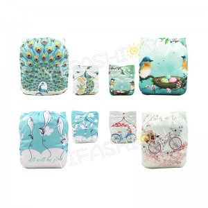 YIFASHIONBABY 4Pack Beautiful Girls Reusable Adjustable One Size Cloth Diapers with Insert for Baby DD-4Z03