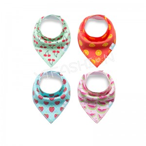 YIFASHIONBABY Baby Bandana Bib Set, 4pcs-Pack Super Absorbent, Soft Organic Drool Bibs for Girls(Fruit Prints)YB02