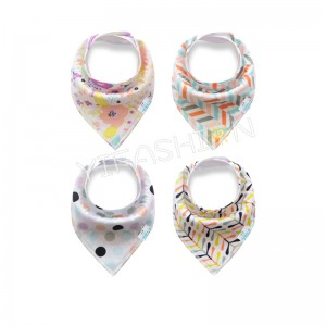 YIFASHIONBABY 4pcs/pack Softable Cotton Baby Bandana Drool and Dribble Bibs for Girls with Adjustable Snaps YB07