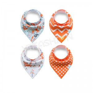 YIFASHIONBABY 4pcs/pack 100% Cotton Baby Girls Dribble Bibs Bandana Drool With Snaps for Teething Drooling Feeding YB08