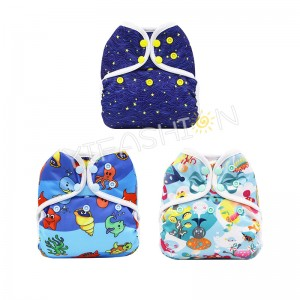 YIFASHIONBABY 3pcs/pack Sea World Printed Cloth Diaper Cover One Size for Baby 6-35pounds with Leg Gussets YC-Z03