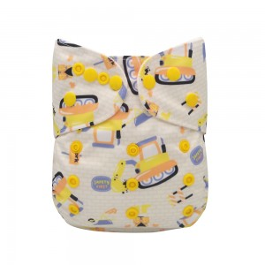 "YIFASHION Colorful Snaps Cutie Baby Cloth Nappies Pocket "" Yellow excavator"" YH02"