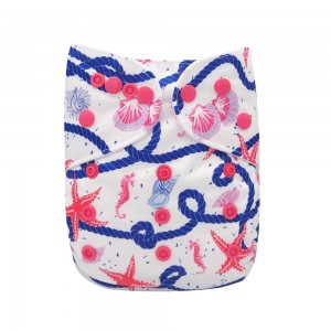 "YIFASHION Colorful Snaps Reusable Cloth Diapers One Size"" starfish"" YH03"