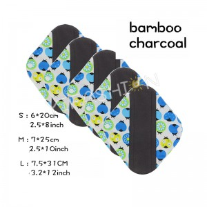 YIFASHIONBABY 5pcs/pack Cloth Charcoal Bamboo Menstrual Pads Reusable (S,M,L) with 1pc Little bag YW04