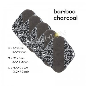 YIFASHIONBABY 5pcs/Pack Reusable Cloth Menstrual Pads with Bamboo-Charcoal Absorbency with little Wet Bag (S,M,L ) YW07