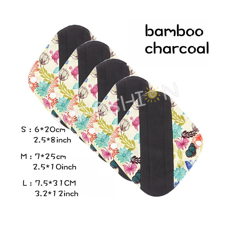 YIFASHIONBABY(5 Pieces) Reusable Cloth Sanitary Napkins Menstrual Panty Pads With Bamboo Charcoal Absorbency (Butterfly Prints) YW33