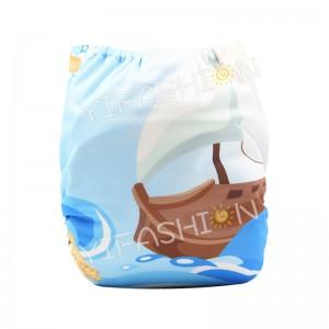YIFASHIONBABY 1pc Boy Prints  +1pc Microfiber Insert Pocket Cloth Diaper- DD06(Ocean/Boat)