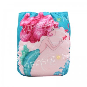 YIFASHIONBABY 1pc (Mermaid) Girls' Pocket Diapers+1pc Microfiber Insert – DD09